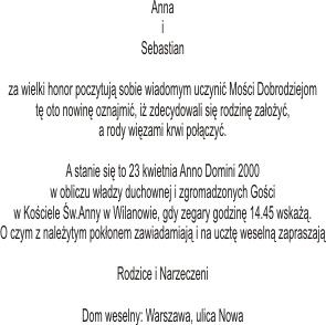 Zawiadomienia Zaproszenia ślubne Poznań Karty Menu Listy